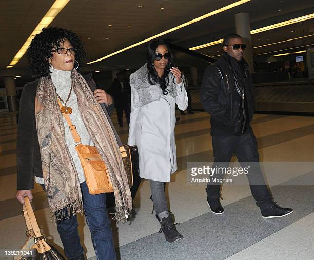 Sonja Norwood Brandy and Ray J land at John F Kennedy Airport on February 17 2012 in New York City