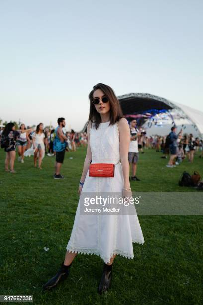 Sonja Paszkowiak wearing a complete MarcCain look during day 1 of the 2018 Coachella Valley Music & Arts Festival Weekend 1 on April 13, 2018 in...
