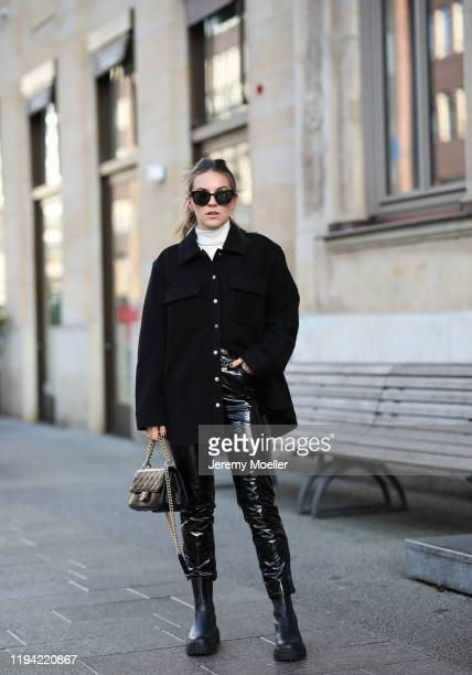 Sonja Paszkowiak wearing &other Storie shirt, Edited pants, Zara shoes and jacket, Prada sunglasses and Chanel bag on December 15, 2019 in Hamburg,...