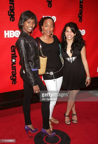 Sonja Sohn and daughters during Entourage Season 4 Premiere Arrivals at Zeigfeld Theatre in New York City New York United States