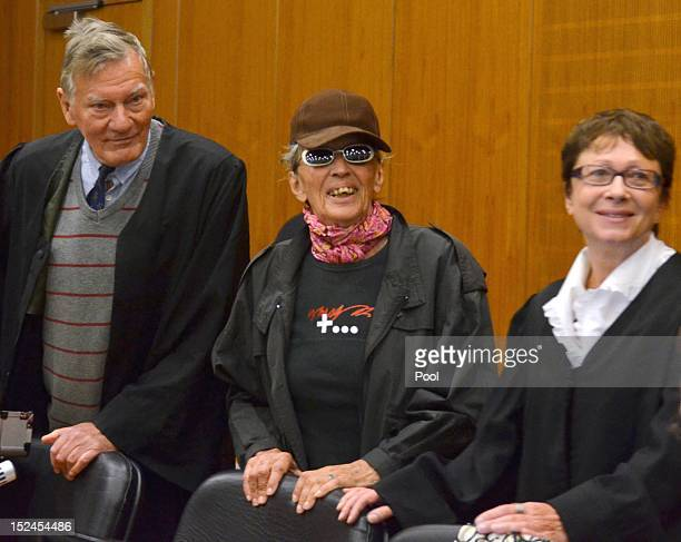 Sonja Suder arrives for the first day of her trial charged in relation to the 1975 OPEC attack in Vienna on September 21 2012 in Frankfurt Germany...