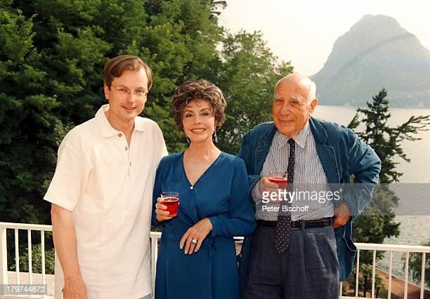 Sonja Ziemann mit Ehemann Charles Regnierund HansJürgen Schatz auf derTerrasse Homestory inLugano