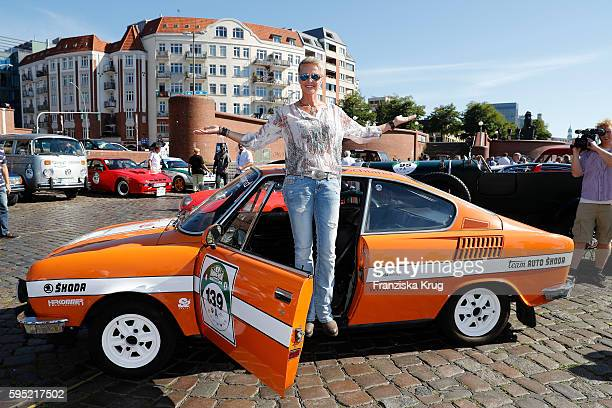 Sonja Zietlow attends the first day of the HamburgBerlin Klassik Rallye on August 25 2016 in Hamburg Germany