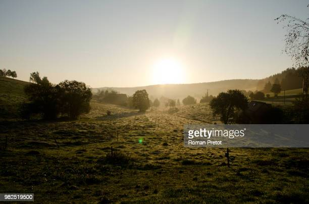 sonnenaufgang im schwarzwald - roman pretot stock pictures, royalty-free photos & images