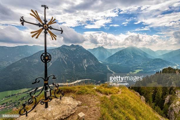 Sonnenberg summit cross and Graswang valley