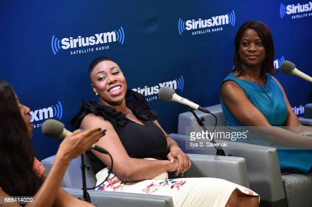 Sonnie Johnson Symone Sanders and Deneen Borelli speak during SiriusXM Presents The Black Female Vote PostHillary Hosted By Karen Hunter at SiriusXM...