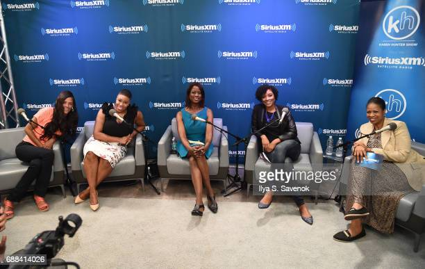 Sonnie Johnson Symone Sanders Deneen Borelli Zerlina Maxwell and Karen Hunter pose during SiriusXM Presents The Black Female Vote PostHillary Hosted...