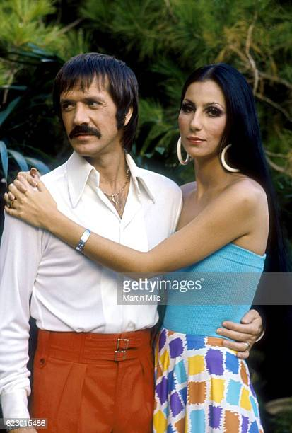 Sonny and Cher Bono pose for a promotional photo for 'The Sonny and Cher Show' in 1970