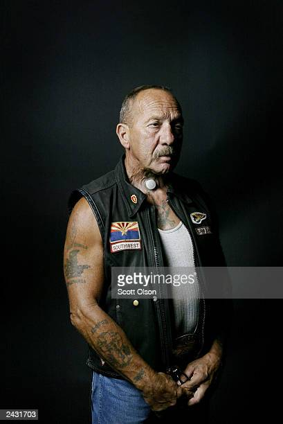 Sonny Barger founder of the Oakland California charter of the Hells Angels motorcycle club attends a party August 23 2003 in Quincy Illinois The...