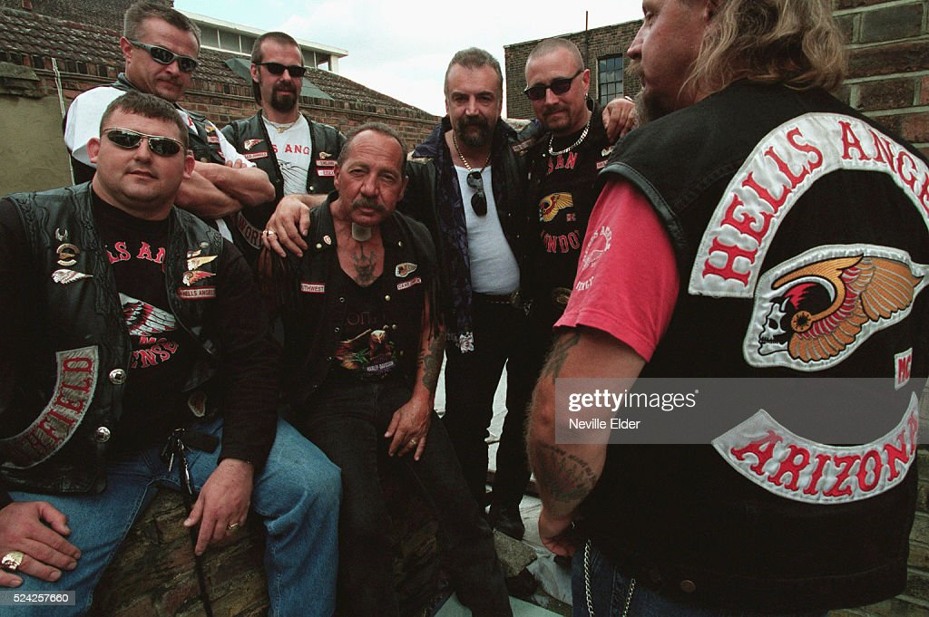 Sonny Barger, patriarch of the Hell's Angels, with some of his biker buddies. Barger has just released his memoirs, Hell's Angel, which can be ordered from his web site along with other merchandise.