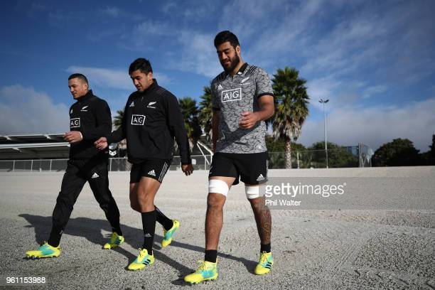 Sonny Bill Wiliams Rieko Ioane and Akira Ioane of the All Blacks arrive for a New Zealand All Blacks training session at Auckland Blues HQ on May 22...