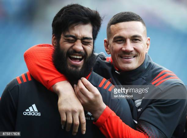 Sonny Bill Williams and Akira Ioane of New Zealand is seen during the Captains Run at Murrayfield Stadium on November 17 2017 in Edinburgh Scotland