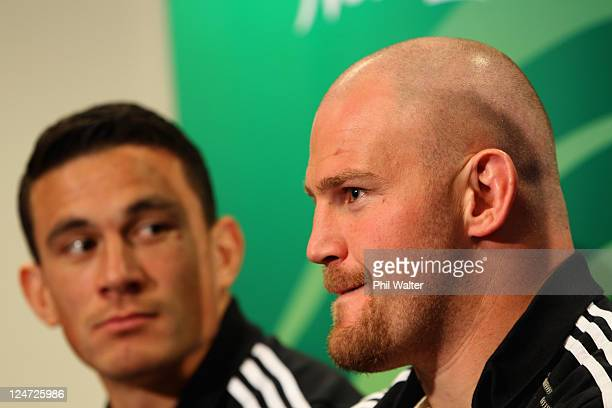Sonny Bill Williams and Ben Franks of the All Blacks during a New Zealand All Blacks IRB Rugby World Cup 2011 media conference at the Novotel Tainui...