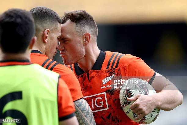 Sonny Bill Williams and Israel Dagg of the All Blacks during a New Zealand All Blacks training session at Forsyth Barr stadium on August 24 2017 in...