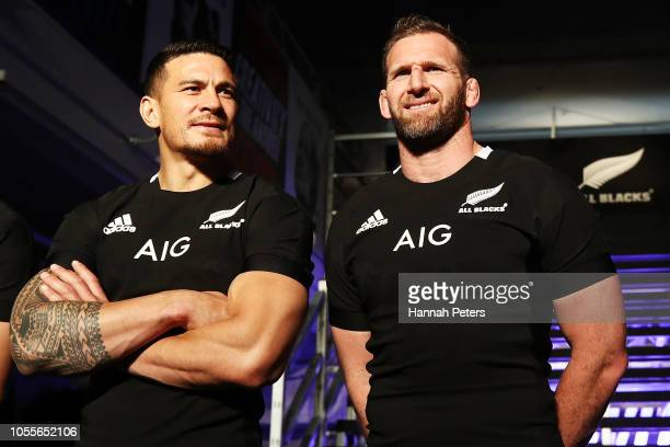 Sonny Bill Williams and Kieran Read pose during the New Zealand All Blacks Adidas Jersey launch on October 31 2018 in Tokyo Japan