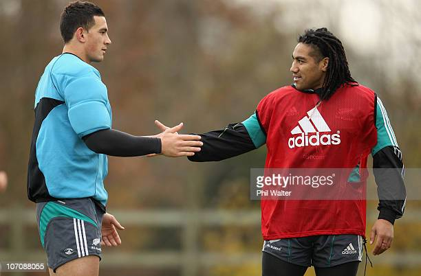 Sonny Bill Williams and Ma'a Nonu of the All Blacks joke around during a New Zealand All Blacks Training Session at the University of Bath on...