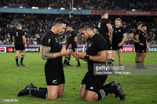 Sonny Bill Williams and Ofa Tuungafasi of New Zealand pray after the Rugby World Cup 2019 Semi-Final match between England and New Zealand at...