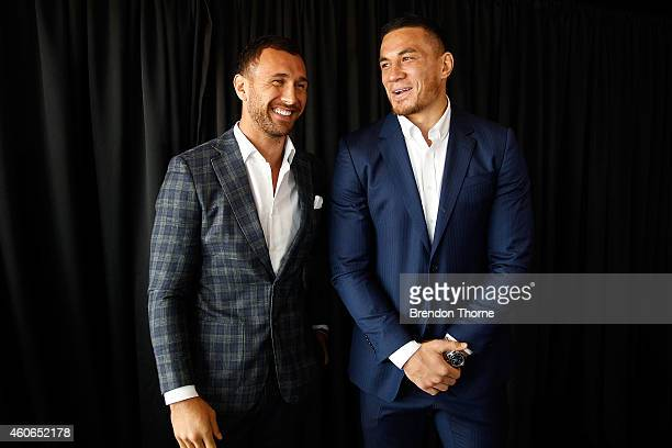 Sonny Bill Williams and Quade Cooper share a joke following a press conference at Allphones Arena on December 19 2014 in Sydney Australia