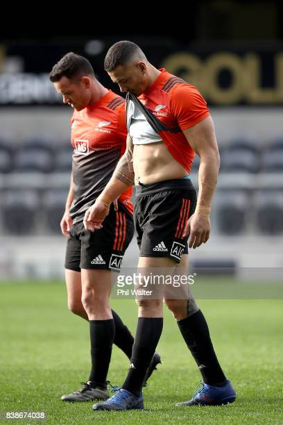 Sonny Bill Williams and Ryan Crotty of the All Blacks during the New Zealand All Blacks Captain's Run at Forsyth Barr Stadium on August 25 2017 in...