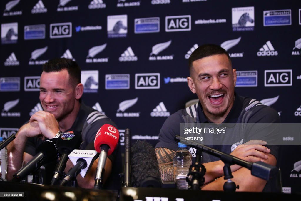 Sonny Bill Williams (R) and Ryan Crotty (L) speak to the media during a New Zealand All Blacks press conference at The Intercontinental on August 17, 2017 in Sydney, Australia.