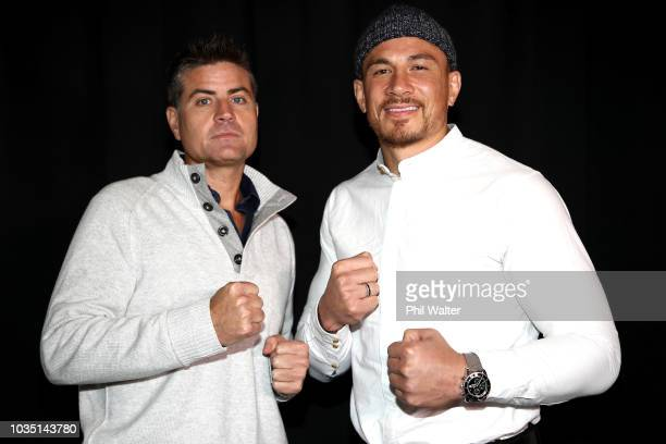 Sonny Bill Williams and Stu Laundy pose togeather during a press conference at Rydges Hotel on September 18 2018 in Auckland New Zealand Sonny Bill...