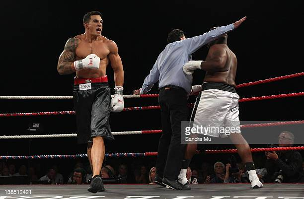 Sonny Bill Williams celebrates winning the Battle for the Belt match between Sonny Bill Williams and Clarence Tillman III at Claudelands Event Centre...