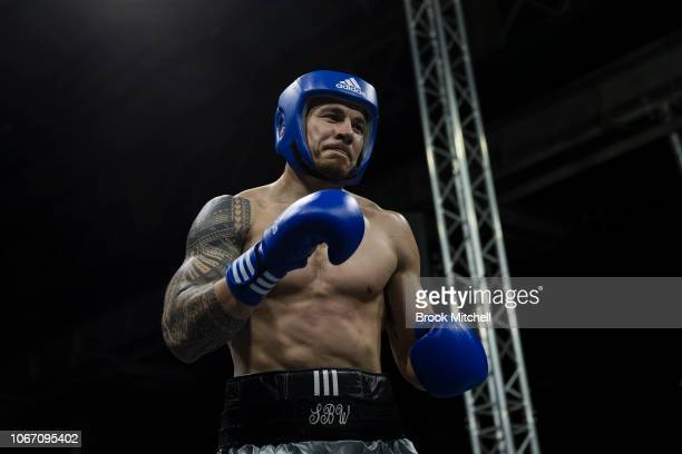 Sonny Bill Williams is pictured during his tied charity fight with Stuart Laundy during the Banger Under the Hangar Charity Fight Night at The...