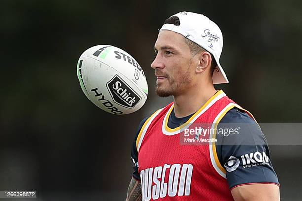 Sonny Bill Williams joins Sydney Roosters teammates in a training session at Tramway Oval at Moore Park on August 15, 2020 in Sydney, Australia.
