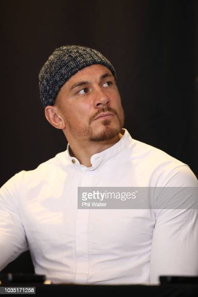Sonny Bill Williams looks on during a press conference at the Rydges Hotel on September 18 2018 in Auckland New Zealand Sonny Bill Williams and Stu...
