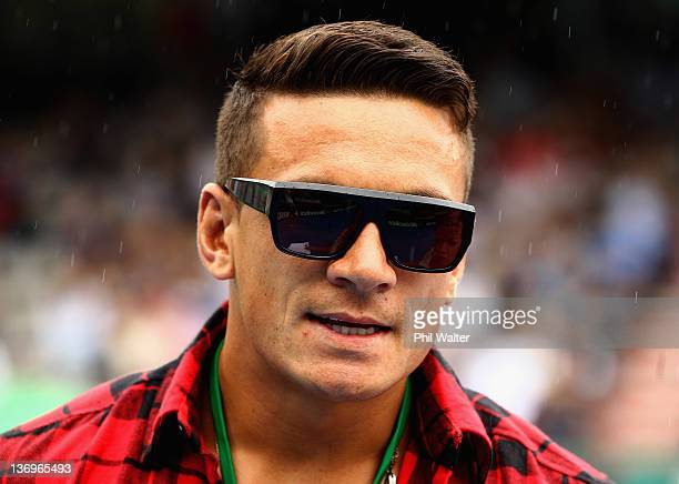Sonny Bill Williams looks on during day six of the 2012 Heineken Open at the ASB Tennis Centre on January 14 2012 in Auckland New Zealand