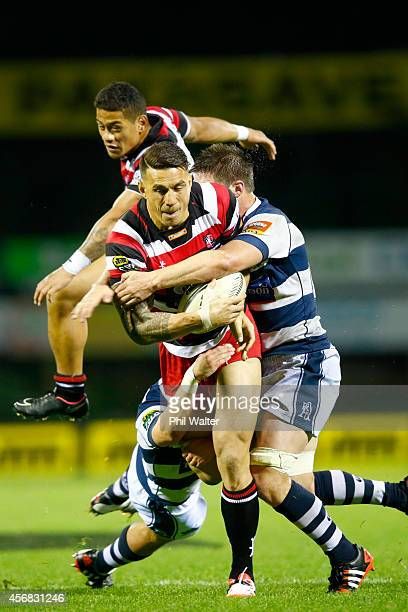 Sonny Bill Williams of Counties is tackled during the round nine ITM Cup match between Counties Manukau and Auckland at ECOLight Stadium on October 8...