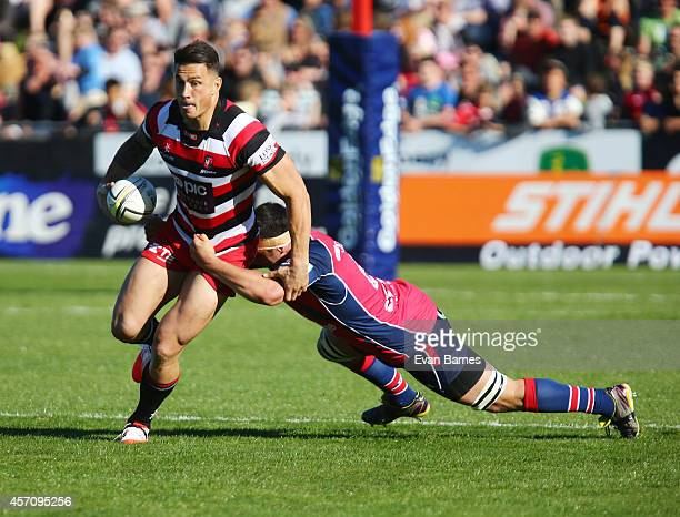 Sonny Bill Williams of Counties is tackled during the round nine ITM Cup match between Tasman and Counties Manukau at Landsdowne Park on October 12...