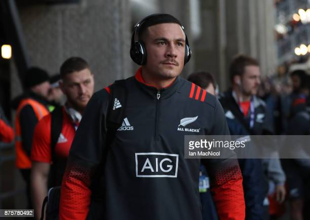 Sonny Bill Williams of New Zealand arrives prior to the International test match between Scotland and New Zealand at Murrayfield Stadium on November...