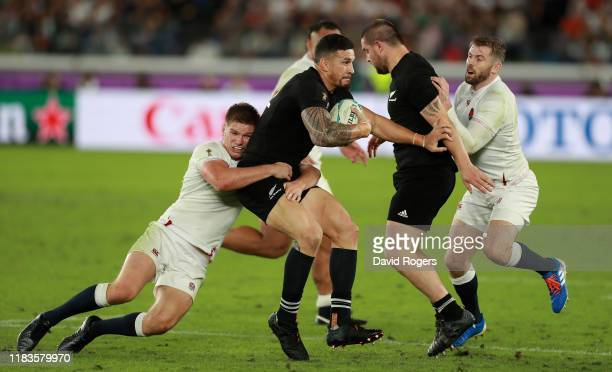 Sonny Bill Williams of New Zealand is tackled by Owen Farrell during the Rugby World Cup 2019 SemiFinal match between England and New Zealand at...