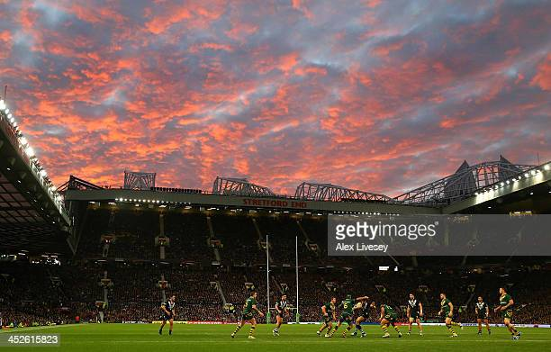 Sonny Bill Williams of New Zealand is tackled during the Rugby League World Cup Final between New Zealand and Australia at Old Trafford on November...