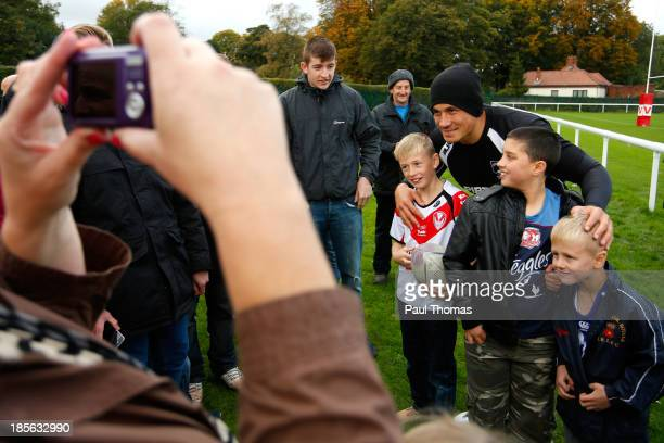Sonny Bill Williams of New Zealand poses for photographs during the New Zealand training session at St Helens Rugby League Cowley training complex on...