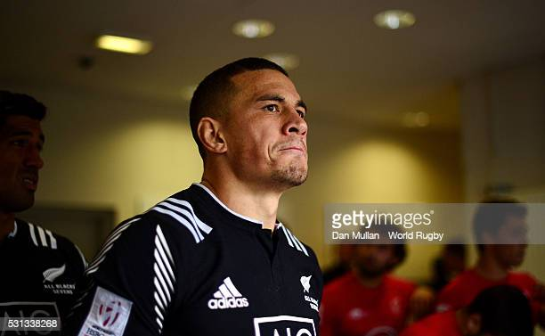 Sonny Bill Williams of New Zealand prepares to take to the field prior to during the pool match between New Zealand and Portugal on day two of the...