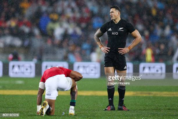 Sonny Bill Williams of New Zealand reacts after colliding with Anthony Watson of the Lions during the International Test match between the New...
