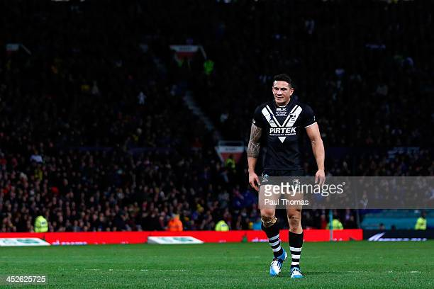 Sonny Bill Williams of New Zealand shows his dejection during the Rugby League World Cup final between New Zealand and Australia at Old Trafford on...