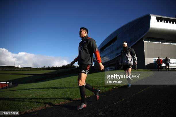 Sonny Bill Williams of the All Blacks arrives for a New Zealand All Blacks training session at Trusts Stadium on July 4 2017 in Auckland New Zealand
