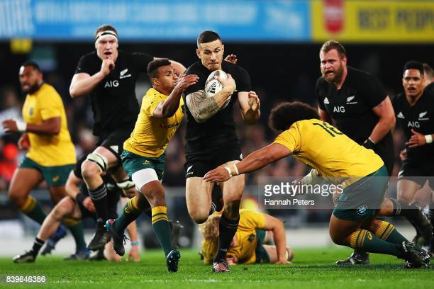 Sonny Bill Williams of the All Blacks charges forward during The Rugby Championship Bledisloe Cup match between the New Zealand All Blacks and the...