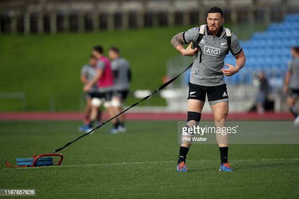 Sonny Bill Williams of the All Blacks during a New Zealand All Blacks training session at Trusts Stadium on August 13, 2019 in Auckland, New Zealand.