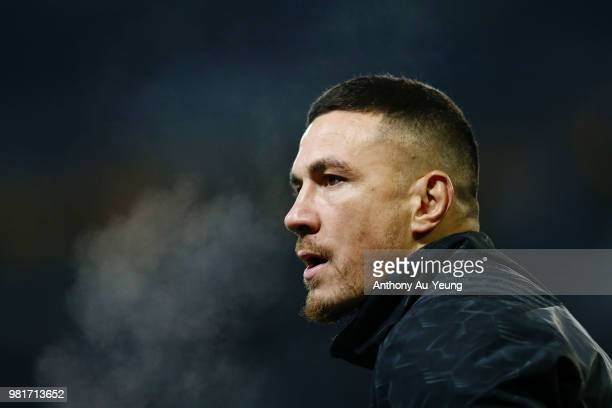 Sonny Bill Williams of the All Blacks during warmup prior to the International Test match between the New Zealand All Blacks and France at Forsyth...