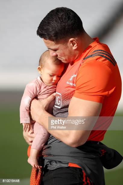 Sonny Bill Williams of the All Blacks holds his daughter Aisha during the New Zealand All Blacks Captains Run at Eden Park on July 7 2017 in Auckland...