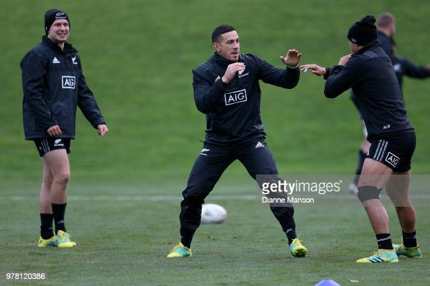 Sonny Bill Williams of the All Blacks in action during a New Zealand All Blacks training session on June 19 2018 in Dunedin New Zealand