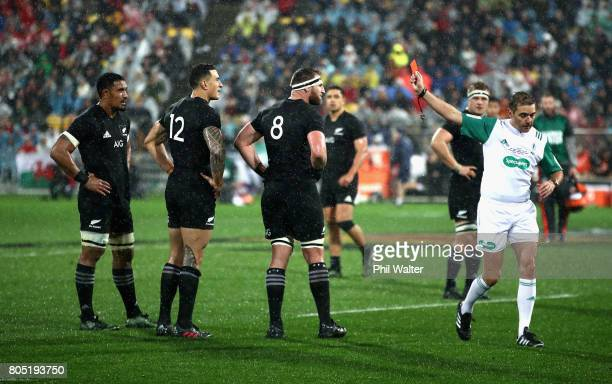 Sonny Bill Williams of the All Blacks is shown a red card during the International Test match between the New Zealand All Blacks and the British...