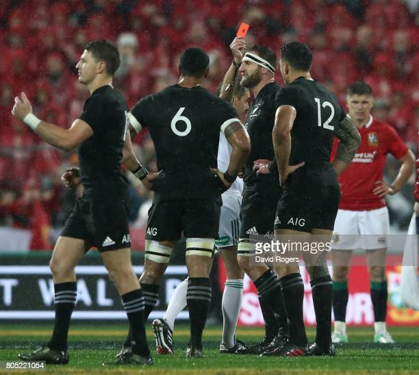 Sonny Bill Williams of the All Blacks is shown the red card by Referee Jerome Garces of France during the second test match between the New Zealand...