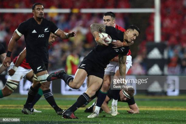 Sonny Bill Williams of the All Blacks is tackled by Conor Murray of the Lions during the second test match between the New Zealand All Blacks and the...