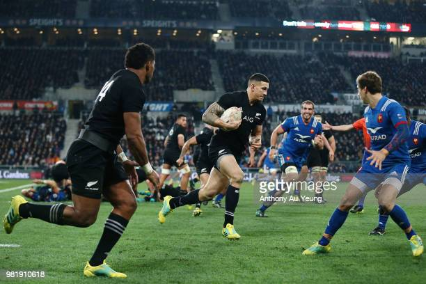 Sonny Bill Williams of the All Blacks makes a run during the International Test match between the New Zealand All Blacks and France at Forsyth Barr...
