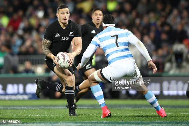 Sonny Bill Williams of the All Blacks makes an attack during The Rugby Championship match between the New Zealand All Blacks and Argentina at Yarrow...